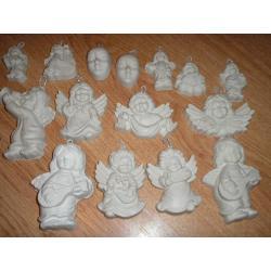 gipsowe maski,aniołki 0,90 gr.za sztuke+25 gratis Masy do modelowania