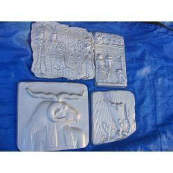 Cztery  egipskie płaskorzeżby,płaskorzeżba Figurki i rzeźby