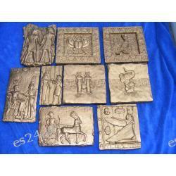Egipt,egipskie płaskorzeżby w komplecie 9 sztuk  Figurki i rzeźby