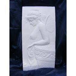 Kobieta-elf płaskorzeżba,relief Figurki i rzeźby