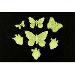 Świecące,fluoroscencyjne motylki Przedmioty ręcznie wykonane