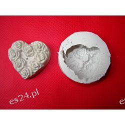 Forma silikonowa -serce z różami Przedmioty ręcznie wykonane