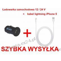 DARMOWA DOSTAWA Kabel USB lightning iPhone 5 + ładowarka samochodowa 12/24V