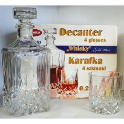 """Karafka ozdobna """"Whisky"""" 0,75 L + 4 szkl"""