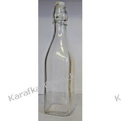 Kwadratowa butelka 1l z korkiem mechanicznym