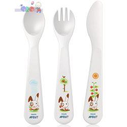 Zestaw bezpiecznych sztućców dla dziecka 18m+ łyżka, widelec, nóż...