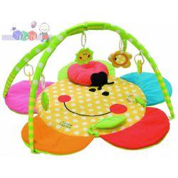 Mata do zabawy miękka kolorowa ocieplana Canpol Uśmiechnięta buzia z poduszką w kształcie biedronki...