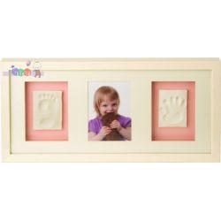 Ramka Baby Memory Prints na zdjęcie i odcisk stópki i rączki - biała...