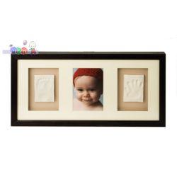 Potrójna ramka Baby Memory Prints na zdjęcie i odcisk stópki i rączki - mahoń...