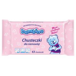 Delikatne chusteczki Bambino dla niemowląt od pierwszych dni życia 63 szt....