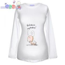 """Bluza dla kobiety w ciąży z oryginalnym nadrukiem """"Niebawem wychodzę""""..."""