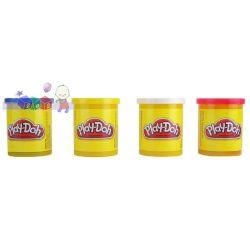Play-Doh ciastolina 4 tuby - kolory podstawowe biały, żółty, czerwony, niebieski...