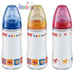 Nuk First Choice - szklana butelka do karmienia ze smoczkiem silikonowym 240 ml...