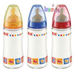 Nuk First Choice - szklana butelka do karmienia ze smoczkiem lateksowym 240ml...
