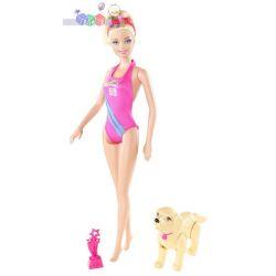 Barbie pływaczka - zestaw z pieskiem...
