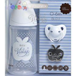 Zestaw dla noworodka Suavinex Bleu butelka 270 ml lateks + smoczek uspokajający z łańcuszkiem...