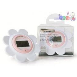 Elektroniczny termometr do kąpieli Suavinex w kształcie kwiatka - różowy...