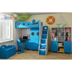 Zestaw Nemo łóżko z antresolą, komoda w kształcie schodków, szafa dwudrzwiowa oraz biurko z szufladami...