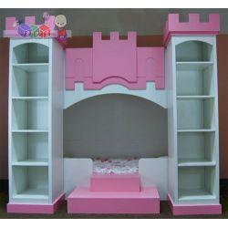 Zestaw mebli dziecięcych Pałacowy łóżko dolne 180x90 dwa regały + miejsce do zabawy na górze(możliwość adaptacji góry na 2 łóżko wys 224 szer 240 gł 151...