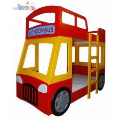 Łóżeczko piętrowe London Bus dolny materac 200x90, górny 180x90...