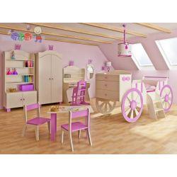 Zestaw mebli dziecięcych szafa komoda łóżko dla księżniczki kareta...
