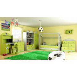 Zestaw mebli dla chłopca Piłka, łóżko w kształcie brami + szafa + komoda trybuna...