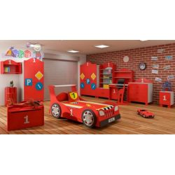 Zestaw mebli dla dziecka samochód łóżko standard szafa komoda...
