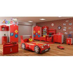 Zestaw mebli dla dziecka samochód łóżko z szufladą, szafa, komoda...