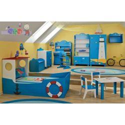 Zestaw mebli dziecięcych Statek Baby Best Łóżko - łódka komoda + szafa...