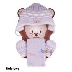 Komplet Irenka Baby Queen czapeczka + szaliczek + rękawiczki rozm 42...