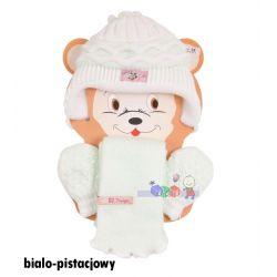 Cieplutkie kompleciki na zimę czapki szaliki rękawiczki Irenka Baby Queen rozm 48...