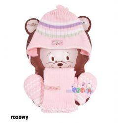 Cieplutki komplet na zimę dla dzieci szaliczek rękawiczki wiązana czapeczka w paski Bazyl Baby Queen rozm 42...
