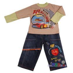 Komplet dla chłopca spodnie jeansowe i bluza rozm 74...