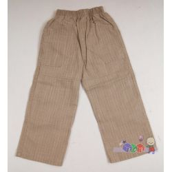Beżowe spodnie z bawełny dla chłopców w delitatną kratkę...