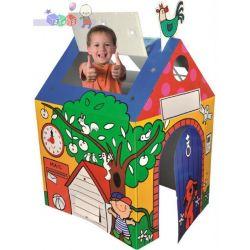 Domek pełen zabaw - duży kartonowy domek z ogródkiem K's Kids...