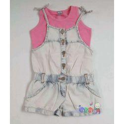 Jeansowy rampers dla dziewczynki i podkoszulka na ramiączkach 98-104...
