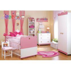 Śliczny zestaw mebli dziecięcych dla małej księżniczki Klupś - łóżko 140x70 z szafą i komodą...