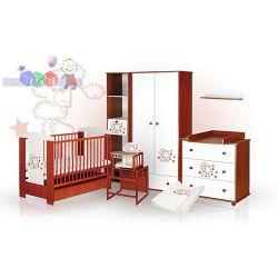 Zestaw mebli do pokoju dziecięcego Klupś Safari Miś z gwiazdkami - łóżeczko z szufladą 120x60, komoda, szafa...