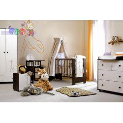 Klupś zestaw mebli dziecięcych z kolekcji Safari Żyrafka - łóżeczko Bartek II z szufladą 140x70, szafa i komoda...