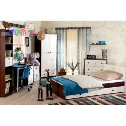 Klupś młodzieżowy zestaw mebli z kolekcji Safari Żyrafka - łóżko 200x90 cm z szufladą, szafa i komoda...