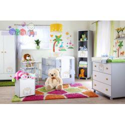 Kolekcja mebli dziecięcych Safari Lew firmy Klupś - zestaw łóżeczko 120x60 z komodą i szafą...
