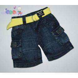 Jeansowe szorty bojówki z paskiem rozm 68-80...