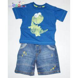 Odzież dziecięca, komplet koszulka Dino + spodenki jeansowe rozm 68-80...