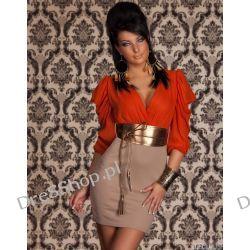 Pomarańczowo beżowa sukienka z pasem rozm. XL