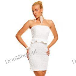 Dzianinowa sukienka z mini baskinką /falbanką