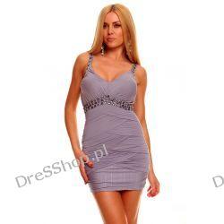 Śliczna szara mini sukienka rozm. S 36