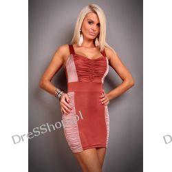 Śliczna dwukolorowa marszczona sukienka r.M/L