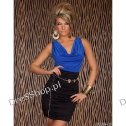 Śliczna niebiesko czarna sukienka pasek r uni