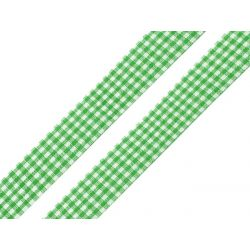 WSTĄŻKA - ZIELONA W KRATKĘ - SZER. 18 mm - DŁ. 1 m Wstążki