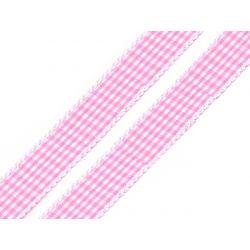 WSTĄŻKA - RÓŻ W KRATKĘ - SZER. 20 mm - DŁ. 1 m Wstążki
